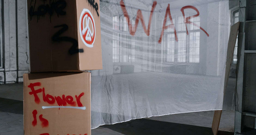 cardboard boxes and a banner